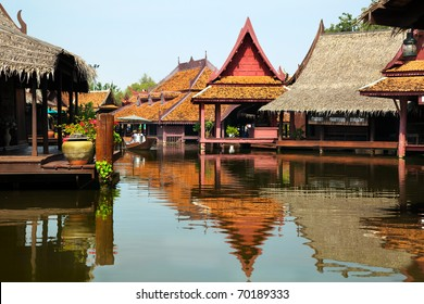 floating market in historical park Ancient City, Bangkok, Thailand