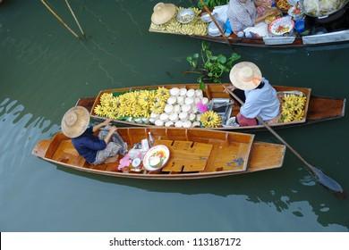 Floating market in Ratchaburi Thailand.
