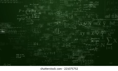 Floating mathematical formules on the dark green background