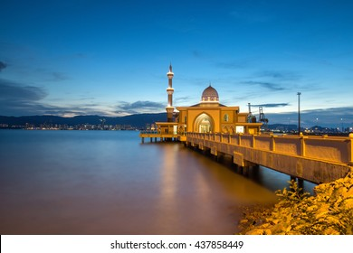 Floating mosque islamic muslim in Penang, Malaysia