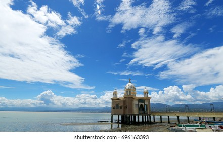 Floating Mosque located in Palu Bay, Central Sulawesi, especially when sea tide comes