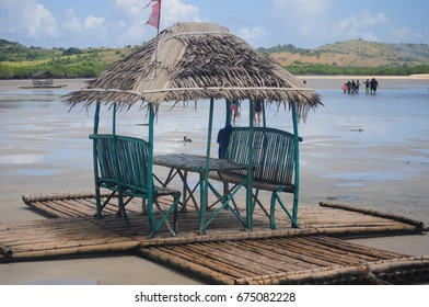 A floating native cottage on a sandbar in the tourist island of Caramoan in the Philippines