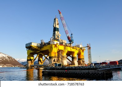 Floating offshore oil drilling platform. Tromso, Norway