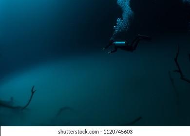 floating on underwater cloud