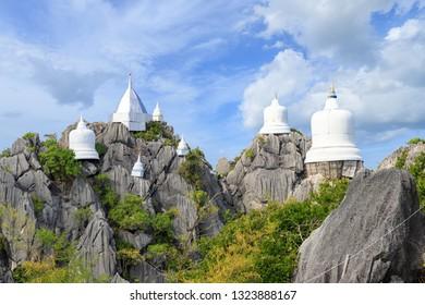 Floating pagoda on peak of mountain at Wat Chaloem Phra Kiat (Phra Bat Pupha Daeng) temple in Chae Hom district, Lampang, Thailand