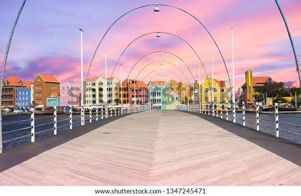 Floating pantoon bridge in Willemstad, Curacao