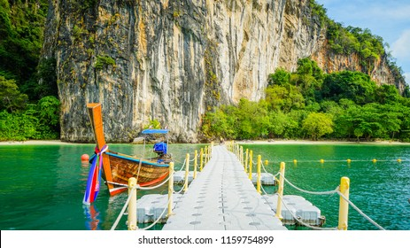 Floating pier use as walkway to the Hong island beach in Krabi, Thailand.