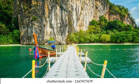 Floating pier use as walkway to the Hong island beach in Krabi, Thailand.