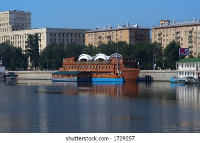 Floating restaurant on the city river