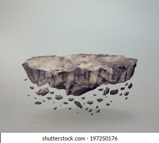 Floating rock surface with crumbling stones