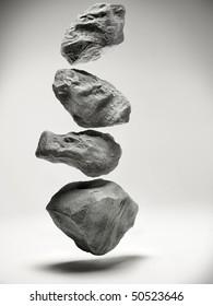 Floating rocks inside studio