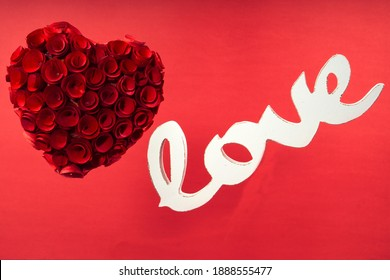 Floating Rose Heart with Love Wooden Text