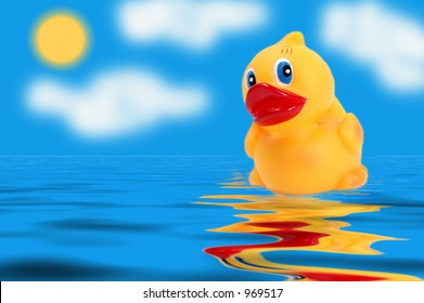 Floating Rubber Ducky with Sun and  Blue Sky