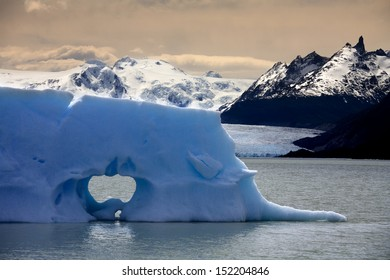 Floating sea ice near the San Rafael Glacier (in background) in Patagonia in Southern Chile