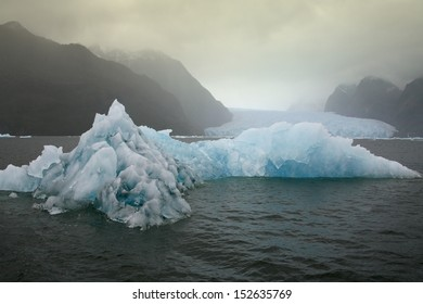 Floating sea ice near the San Rafael Glacier (in background) in southern Chile