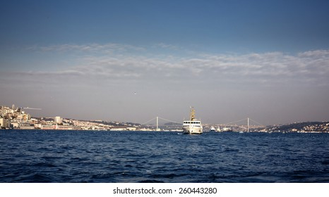 Floating ship with tourists and beautiful view of Instanbul city, Turkey