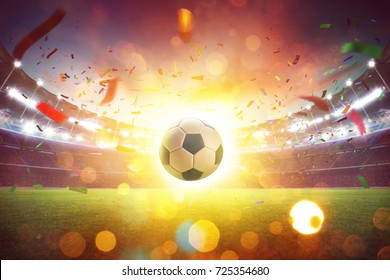 Floating soccer ball at the football stadium with smoke and bokeh abstract  