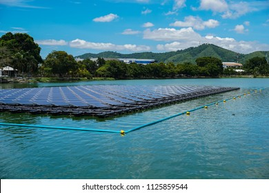 Floating Solar Farm or Solar panels on  the river with blue sky and mountain is the background.