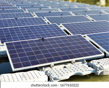 Floating solar panels or solar cell Platform on the water., Ecological energy, Photovoltaic, Alternative electricity source, technology innovation,Solar power station.