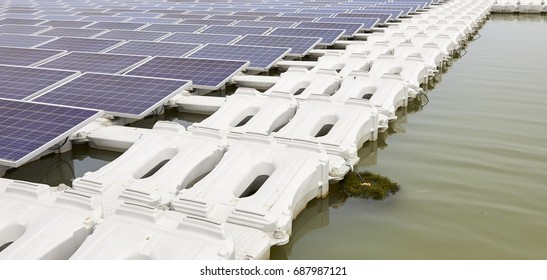 Floating solar panels on the water