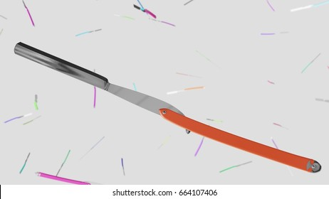 Floating Straight Razor against a white background and array of out of focus Straight Razors of various colors. This image is a 3d render.