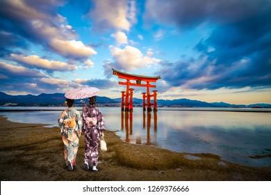 Floating Torii gate of at Miyajima, Hiroshima (gate sign reads Itsukushima Shrine)
