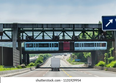 Floating tram in Wuppertal, over autobahn
