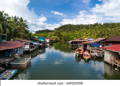 Floating village, Cambodia, Tonle Sap, Koh Rong island. Floating houses.