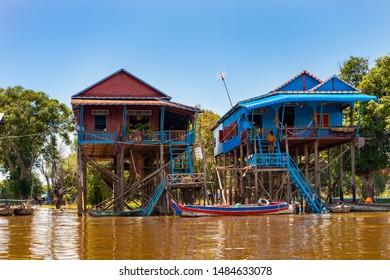 The floating village on Tonle Sap lake. Cambodia.