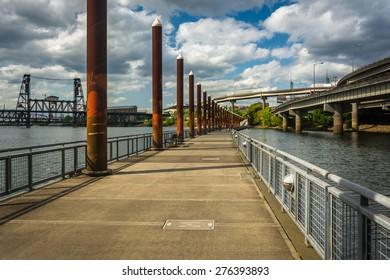 The floating walkway at the Eastbank Esplanade, in Portland, Oregon.