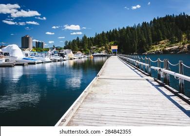 Floating walkway over Lake Coeur d'Alene, in Coeur d'Alene, Idaho.