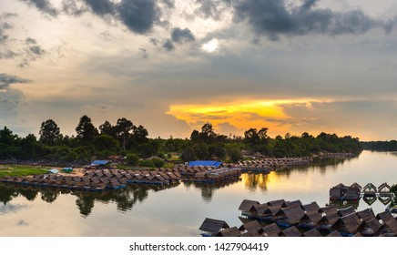 Floating water rafting for leisure and travel,Sisaket province,Thailand,ASIA.
