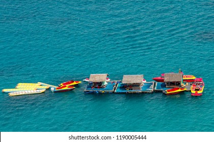 Floating Water Sports Activities Island, Boracay Philippines for banana boating, water ski and jet ski.