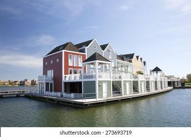 floating wooden houses in the neighborhood Rietveld in the dutch town of houten near utrecht