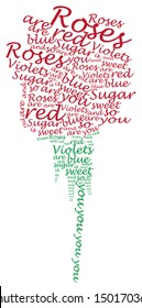 """A floating word cloud image of a rose with the poem reading: """"Roses are red, Violets are blue, Sugar is sweet, and so are you""""."""