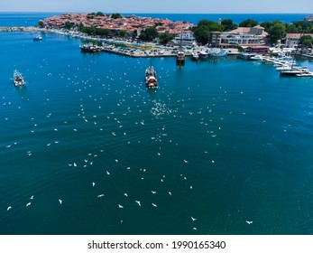 A flock of glarus circles over a fishing vessel in the Black Sea Sozopol, Aerial Drone Photo