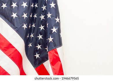 Floded Flag of United States of America. Copy space with usa flag