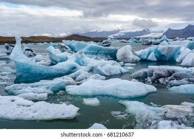 Floes in a lake of in ice lagoon in Iceland