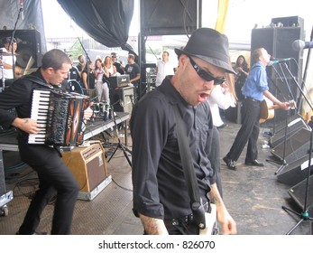 Flogging Molly Playing the 2004 Vans Warped Tour at Randall's Island in New York.