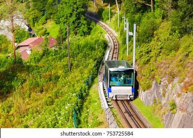 Floibanen is a funicular in Bergen city, Norway. Floibanen runs up the Floyen mountain.