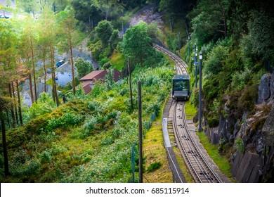 Floibanen funicular to Mt Floyen at Bergen City, from Top of Mount Floyen Glass Balcony Viewpoint mountain in Norway