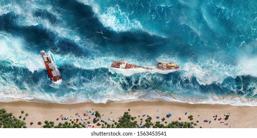 Flood with big tsunami wave on the beach with tourists in storm and stormy weather. Tsunami disaster with destruction and sinking ships.
