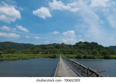 "A flood bridge called ""Wish Bridge"" in Kitsugimachi, Shimane Prefecture, Japan."