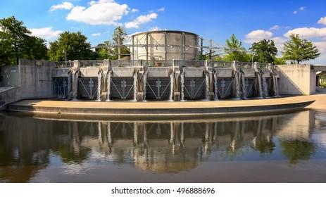 Flood control gate along the San Antonio River in San Antonio, Texas