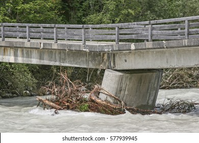 Flood damage on a bridge over the Isar River at Vorderriss