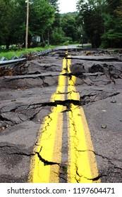 Flood Damaged Road Tore Up
