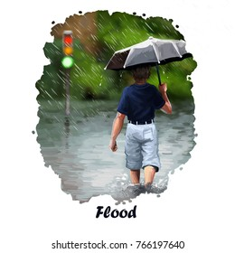 Flood digital art illustration of natural disaster. Heavy rain and boy with umbrella back view. High water tragedy, environmental problem, stop of traffic, hurricane ruined the road, outdoor rains