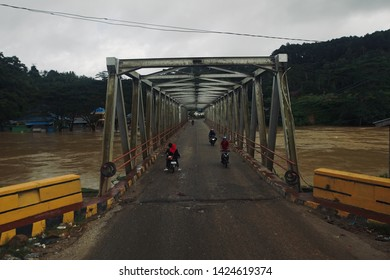 Flood Disaster, Konawe, Indonesia, June 15 2019;  the flood situation that submerged 7 regencies in southeast Sulawesi, decided the inter-provincial road, Hongoa village, southeast Sulawesi province