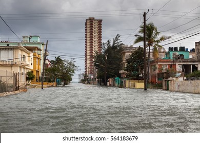 Flood in Havana, Cuba.The storm was so strong that the stone parapet could not hold back the assault of giant waves. As a result, parts of Havana, the capital of Cuba were flooded.