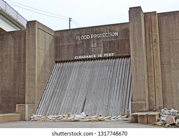 Flood protection barrier on a levee